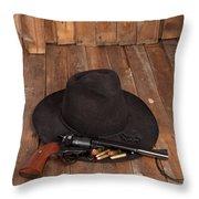 Cowboy Hat And Gun Throw Pillow
