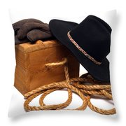 Cowboy Hat And Ranch Tools Throw Pillow by Olivier Le Queinec