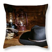 Cowboy Hat And Tools Throw Pillow by Olivier Le Queinec