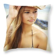 Cowboy Hat At The Beach Throw Pillow by Kicka Witte