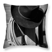 Cowboy Hat On Fence Post In Black And White Throw Pillow
