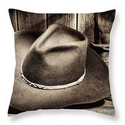 Cowboy Hat On Floor Throw Pillow by Olivier Le Queinec