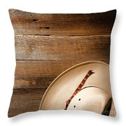Cowboy Hat On Wood Throw Pillow