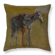 Cowboy In The Badlands Throw Pillow