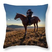 Cowboy Looks Out Over Historic Last Throw Pillow
