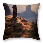 Cowboy On A Cliff Throw Pillow
