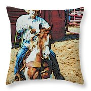 Cowboy On Paint Throw Pillow
