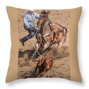 Cowboy Ropes Calf  Throw Pillow