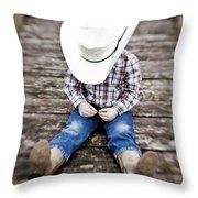 Cowboy Throw Pillow by Scott Pellegrin