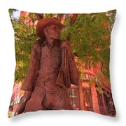 Cowboy Statue In Front Of The Brown Palace Hotel In Denver Throw Pillow
