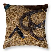 Cowboy Theme - Horseshoes And Whittling Knife Throw Pillow by Paul Ward