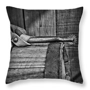 Cowboy Themed Wood Barrel And Spur In Black And White Throw Pillow