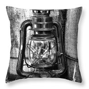 Cowboy Themed Wood Barrels And Lantern In Black And White Throw Pillow