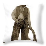 Cowboy With Woolies Cowboy Hat 1900 Throw Pillow
