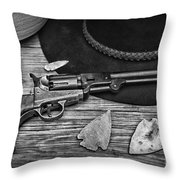 Cowboys And Indians In Black And White Throw Pillow
