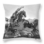 Cowboys And Longhorns Throw Pillow
