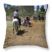 Cowboys At The Branding Throw Pillow