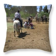 Cowboys At The Branding Throw Pillow