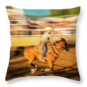 Cowboys Ride And Rope Cattle During San Throw Pillow