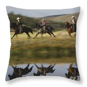 Cowboys Riding With Dogs Oregon Throw Pillow