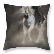 Cowgirl And Knight Throw Pillow