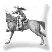 Cowgirl Full Out Throw Pillow