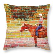 Cowgirl In Bricks Throw Pillow