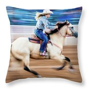 Cowgirl Rides Fast For Best Time Throw Pillow