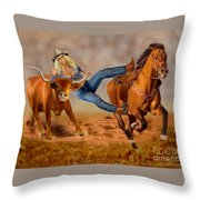 Cowgirl Steer Wrestling Throw Pillow
