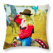 Cowgirl Waiting Throw Pillow