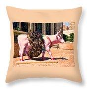 Cow Parade N Y C 2000 - Prima Cowlerina Throw Pillow