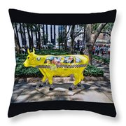 Cow Parade N Y C 2000 - Taxi Cow Throw Pillow