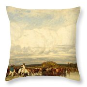 Cows Crossing A Ford Throw Pillow
