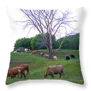 Cows In Rolling Hills Throw Pillow