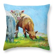 Cows Landscape Throw Pillow