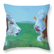 Cows Lying Down Chatting Throw Pillow