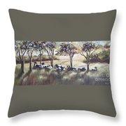 Cows Pasture Throw Pillow by Paula Marsh