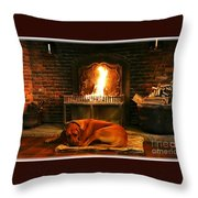 Cozy By The Fire Throw Pillow