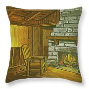 Cozy Fireplace At Lake Hope Ohio Throw Pillow