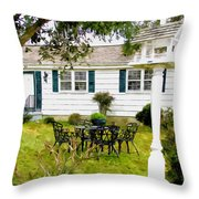 Cozy Little Back Yard Terrace With Table And Chair Throw Pillow