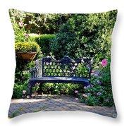 Cozy Southern Garden Bench Throw Pillow by Carol Groenen