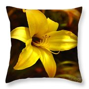 Cozy Yellow Daylily Throw Pillow