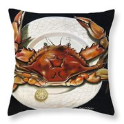 Crab  On Plate Throw Pillow