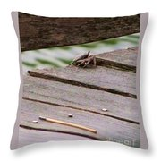 Crab On The Pier  Throw Pillow