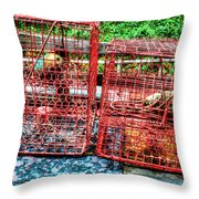 Crab Pots Throw Pillow