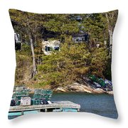 Crab Traps On Boat Near Shore Portland Throw Pillow