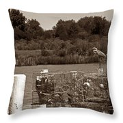 Crabbers Throw Pillow by Skip Willits
