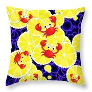 Crabs On Lemon Throw Pillow