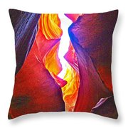 Crack Between Two Worlds In Lower Antelope Canyon In Lake Powell Navajo Tribal Park-arizona Throw Pillow