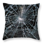 Cracked Glass Of Car Windshield Throw Pillow